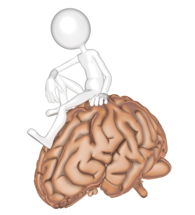 3d person sitting on a brain. Isolated on white background